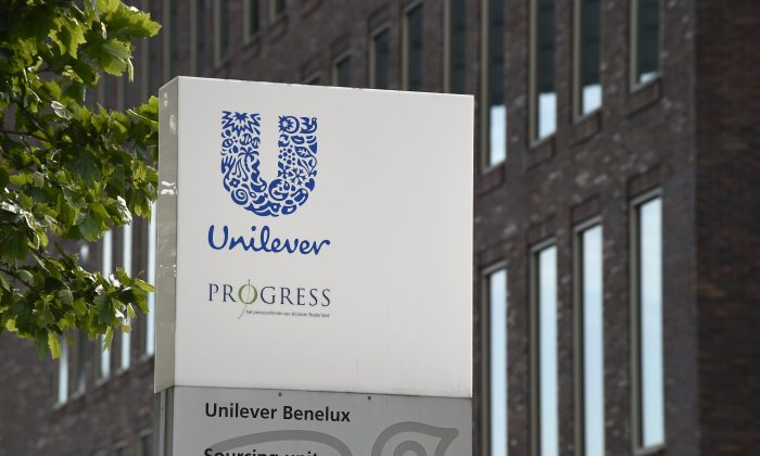 The logo of Unilever at the headquarters in Rotterdam. Unilever is a multinational company in the field of food, personal care and cleaning products. (John Thys/AFP/Getty Images)