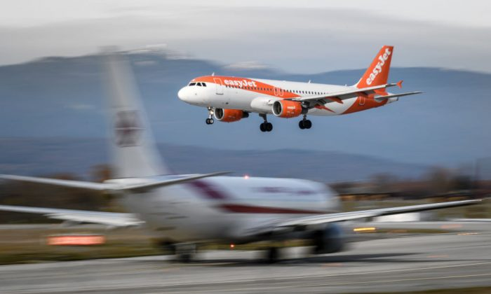 File photo of an EasyJet Airbus A320-214 landing at Geneva Airport on Nov. 20, 2017 in Geneva. (Fabrice Coffrini/AFP/Getty Images)