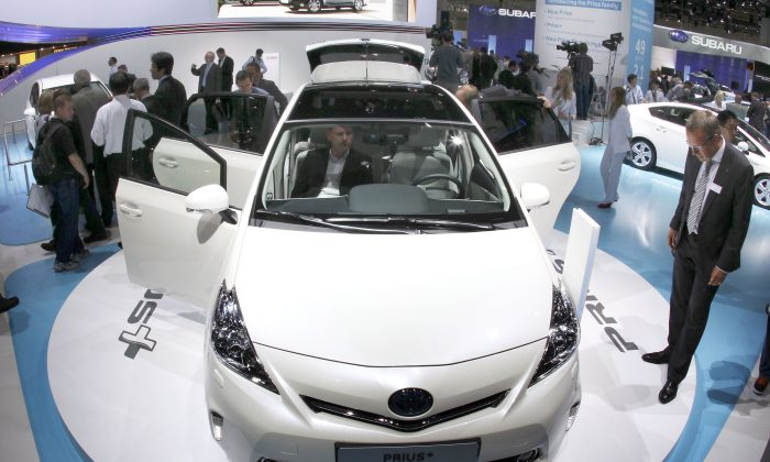 New Toyota Prius hybrid car is presented during the press day of the 64th Frankfurt Auto Show in Frankfurt, Germany, on Sept. 13, 2011. (Michael Probst/AP)