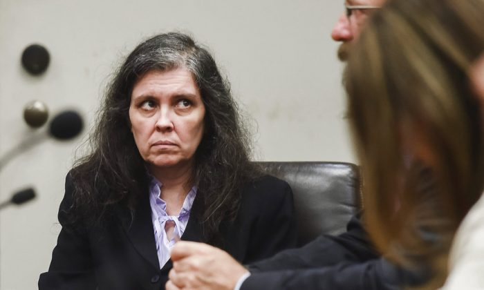 Louise Turpin appears in Riverside County Superior Court during an information hearing in Riverside, Calif., on Aug. 3, 2018. (Watchara Phomicinda/The Orange County Register/SCNG via AP, Pool, File)