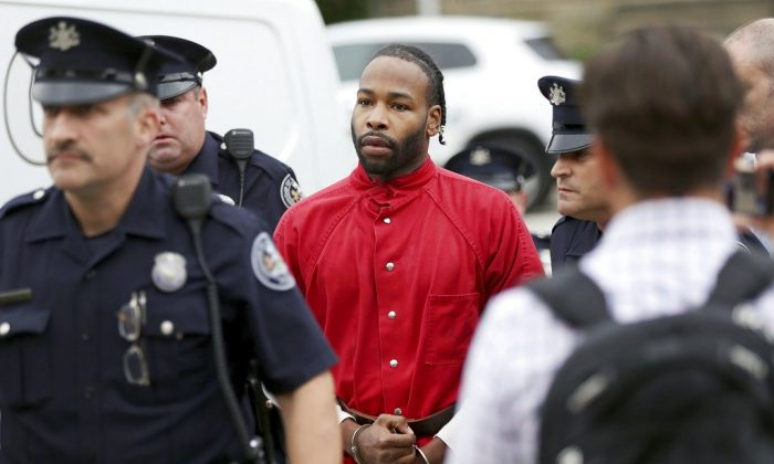 Jonathan Wesley Harris, of Johnstown, Pa. Harris is accused of strangling Christina Carlin-Kraft in one of Philadelphia's affluent suburbs. He arrived for a preliminary hearing on murder charges in Ardmore, Pa., on Oct. 5, 2018. (Montgomery County District Attorney's Office via AP)