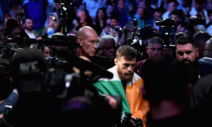 Conor McGregor of Ireland enters the arena before competing against Khabib Nurmagomedov of Russia in their UFC lightweight championship bout during the UFC 229 event inside T-Mobile Arena on Oct. 6, 2018, in Las Vegas. (Harry How/Getty Images)
