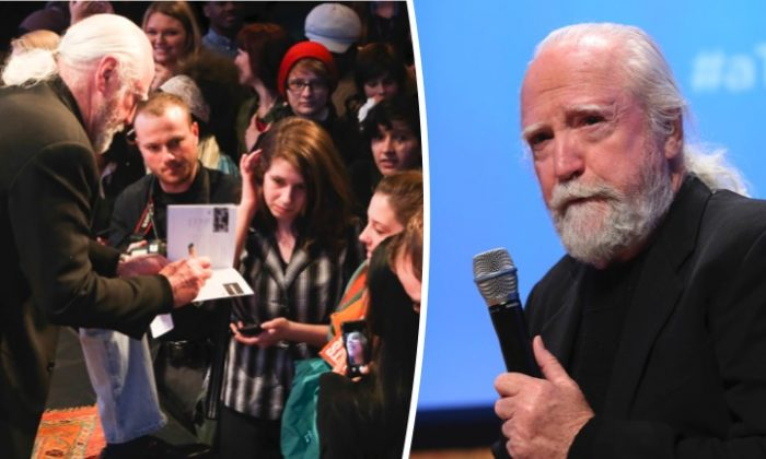 Left frame: Actor Scott Wilson signs autographs for fans on Feb. 8, 2014, in Atlanta.  Right frame:  Wilson speaks at a panel discussion on Feb. 8, 2014, in Atlanta. (Catrina Maxwell/Getty Images for SCAD)