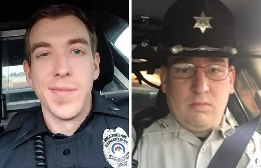 Zach Moak, left, and James White, Brookhaven police officers, were shot to death on Sept. 29, 2018. A high school band's performance including a depiction of holding officers hostage came just one day after Moak's funeral, on Oct. 5, 2018. (Mississippi Department of Public Safety)