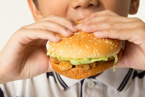 kid eating a fried chicken burger