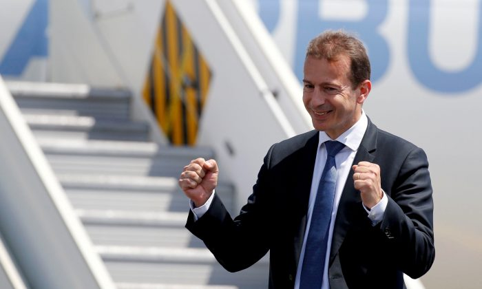 Airbus Commercial Aircraft President Guillaume Faury poses during the unveiling of an Airbus A220-300 aircraft after its landing in Colomiers near Toulouse, France, on July 10, 2018. (Regis Duvignau/Reuters)