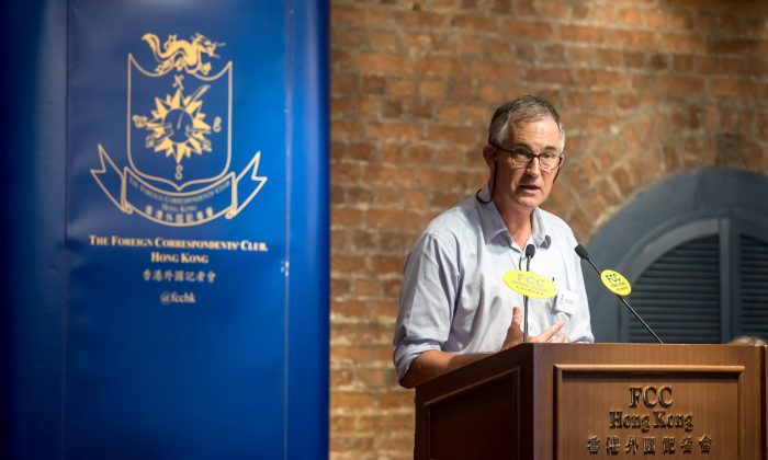 VictorMallet, a Financial Times journalist and first vice president of the Foreign Correspondents' Club (FCC),speaks during a luncheon at the FCC in Hong Kong, China on Aug. 14, 2018. (Paul Yeung/Pool via Reuters)