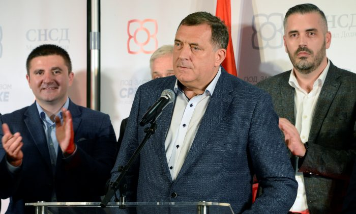 Milorad Dodik, of the Alliance of Independent Social Democrats, SNSD attends a news conference where he declared himself the winner of the Serb seat of the Tri-partite Bosnian Presidency in Banja Luka, Bosnia and Herzegovina, on Oct. 7, 2018. (Ranko Cukovic/Reuters)