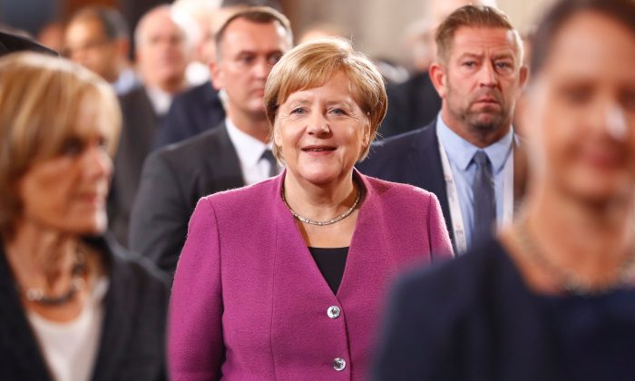 German Chancellor Angela Merkel arrives for the German Unification Day celebrations at the Berlin Cathedral in Berlin, Germany, on Oct. 3, 2018. (Reuters/Fabrizio Bensch/File Photo)