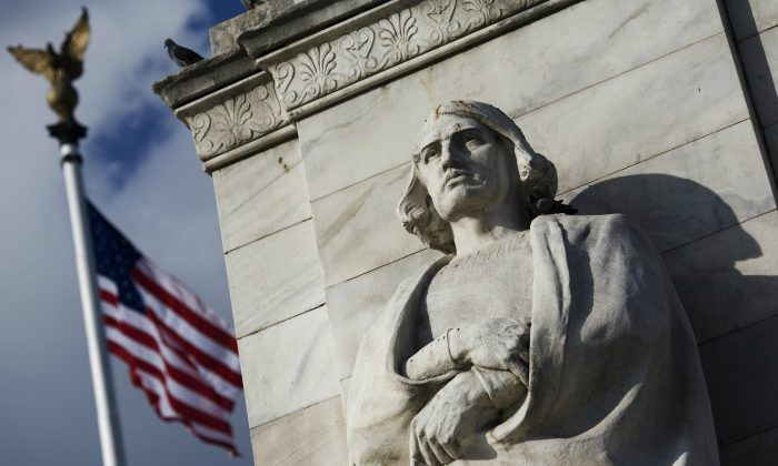 The statue of Christopher Columbus at Columbus Circle in front of Union Station in Washington on Oct. 6, 2007. (Mandel Ngan /AFP/Getty Images)