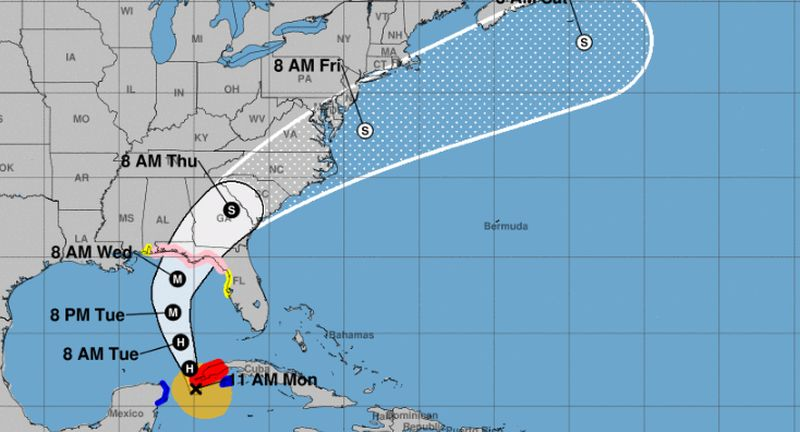 Hurricane Michael's path to Florida and Alabama