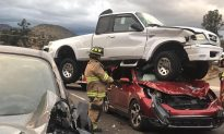 Pictures Show Sideswiped Truck After It Flipped, Landed on Another Car