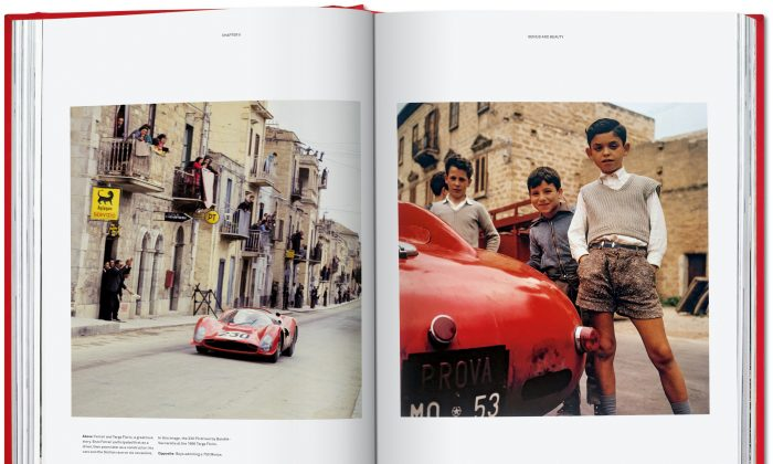 "(L) Crowds cheer on at the 1966 Targa Florio, Sicily. (R) boys admire a ""Ferrari 750 Monza."" (Taschen)"