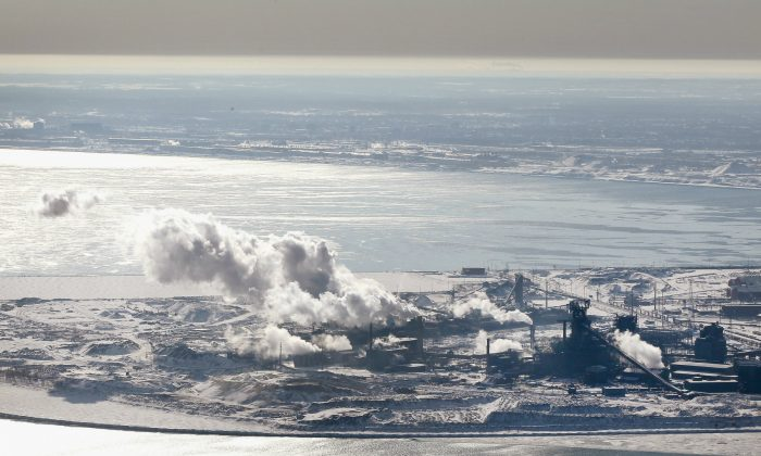 The steel works near Gary, Indiana, on the shore of Lake Michigan in February 2018. The EPA considers Gary and other similar towns to be victims of environmental injustice, but economic and policy decisions are more the cause of the degradation of the city. (Scott Olson/Getty Images)