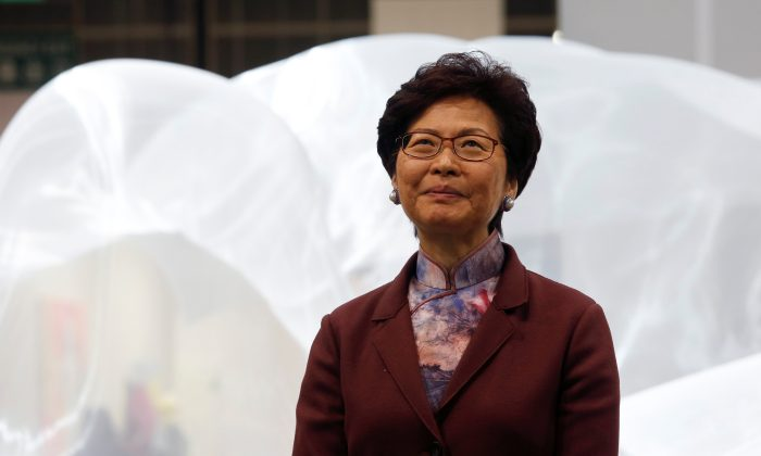 Hong Kong Chief Executive Carrie Lam attends the opening ceremony of Art Basel Hong Kong in Hong Kong, China on March 27, 2018. (Bobby Yip/Reuters)