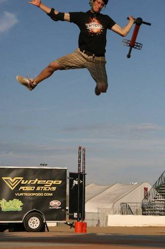 Mahoney performing a stunt as a spokesperson for Vurtego
