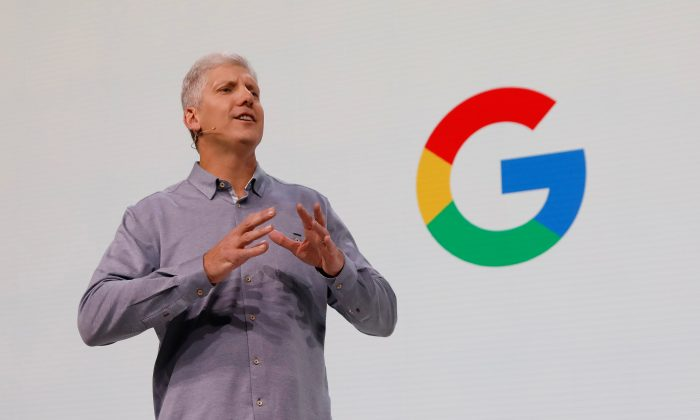 Rick Osterloh, Google's hardware senior vice president, speaks during a news conference on the Google Pixel 3 third generation smartphone and other products in Manhattan, New York, on Oct. 9, 2018.  (Shannon Stapleton/Reuters)