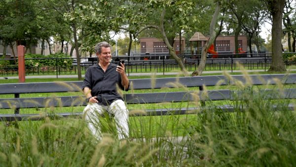 A retired Ronnie Tishkevich relaxing in the park