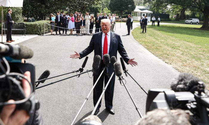President Donald Trump talks to the media before leaving to Bedminster, N.J., at the White House in Washington on Aug. 17, 2018. (Samira Bouaou/The Epoch Times)