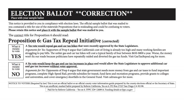Prop 6 Ballot Correction Mailer