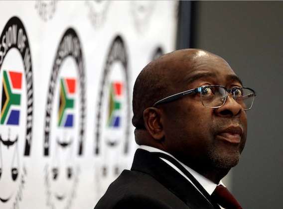 South Africa's Finance Minister Nhlanhla Nene looks on ahead of the Judicial Commission of Inquiry probing state capture in Johannesburg, South Africa Oct. 3, 2018. (Reuters/Siphiwe Sibeko)