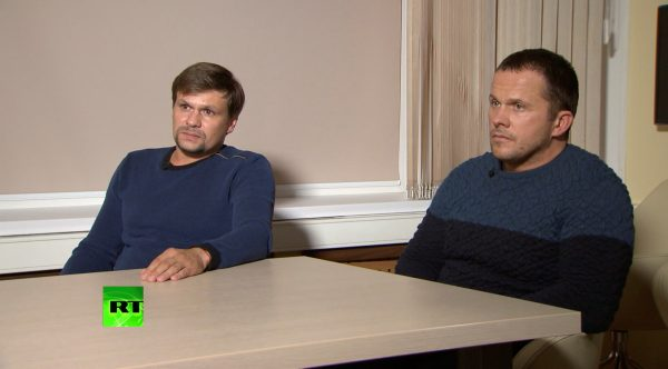 """Alexander Petrov"" and ""Ruslan Boshirov"" during an interview"