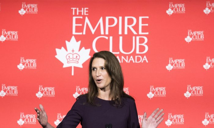Attorney General of Ontario Caroline Mulroney addresses the Empire Club of Canada regarding the federal legalization of cannabis, in Toronto on Oct. 9, 2018. (The Canadian Press/Nathan Denette)