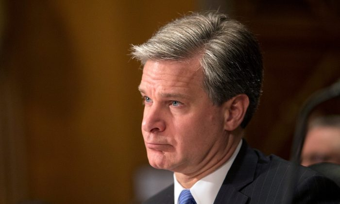 "FBI Director Christopher Wray, testifies before a Senate Homeland Security and Government Affairs Committee hearing on ""Threats to the Homeland"" at the Dirksen Senate Office Building in Washington on Oct. 10, 2018. (Reuters/Alex Wroblewski)"