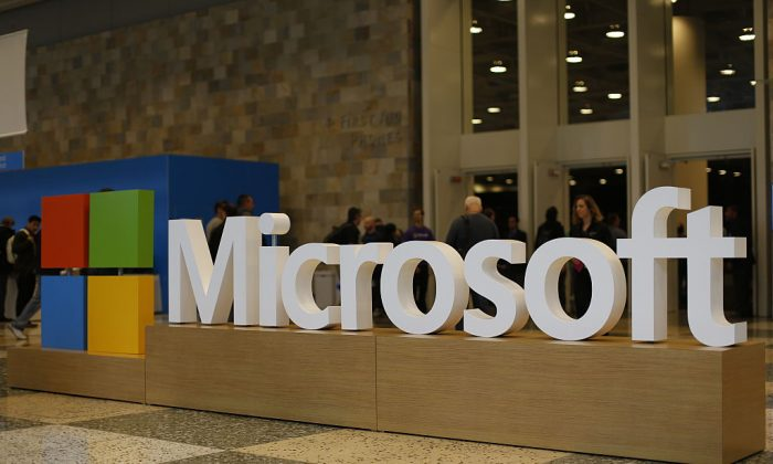 The Microsoft logo at the Moscone Center in San Francisco on April 29, 2015. Stephen Lam/Getty Images