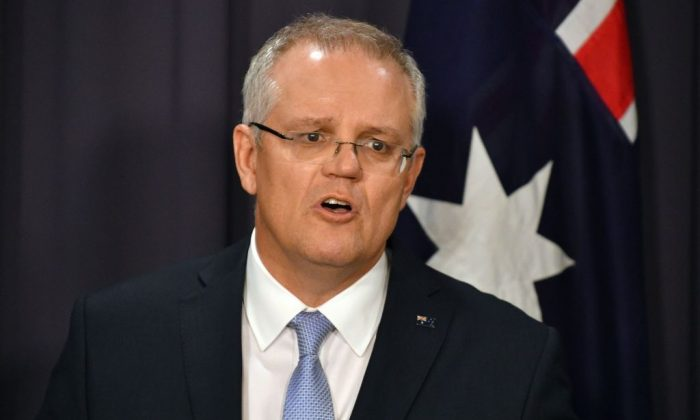 Australia's Prime Minister Scott Morrison speaks at a press conference in Canberra on Aug. 24, 2018. (Saeed Khan/AFP/Getty Images)