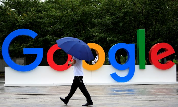 A Google sign is seen during the WAIC (World Artificial Intelligence Conference) in Shanghai, China, on Sept. 17, 2018. (Aly Song/Reuters)