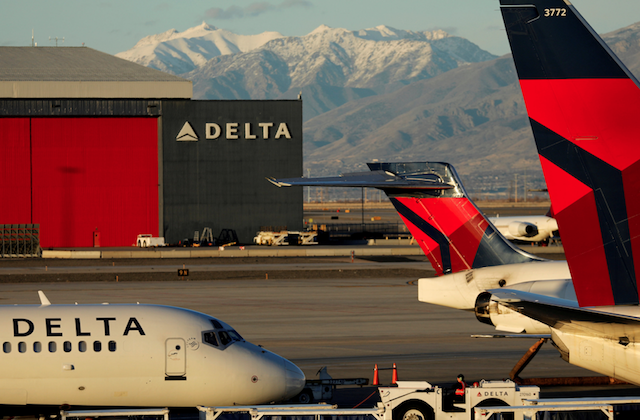 A Delta Air Lines flight is pushed put of its gate at the airport in Salt Lake City, Utah, on Jan. 12, 2018. (Reuters/Mike Blake)