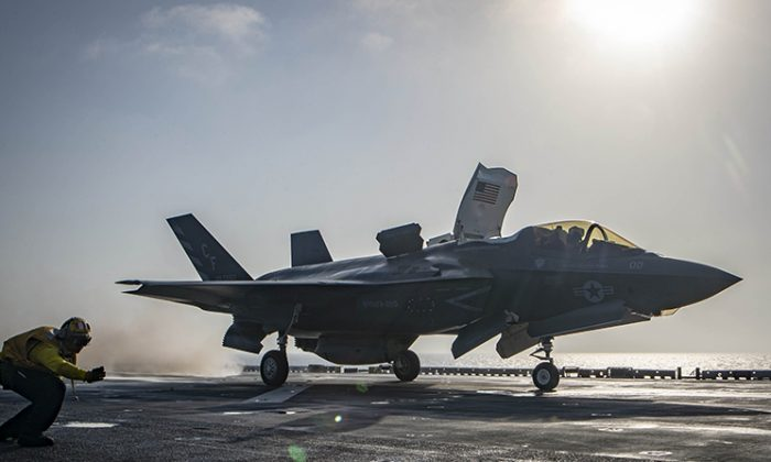 The Department of Defense has decided to ground all its F-35 Lightning II Joint Strike fighters while their engines are inspected for a faulty part, on Oct. 11, 2018. (U.S. Navy)