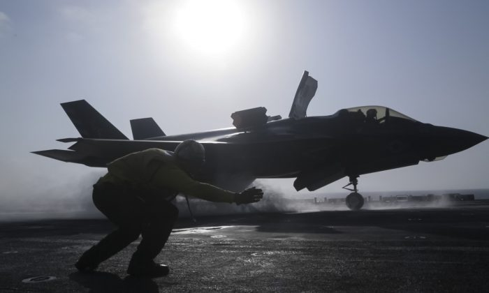 An F-35B fighter prepares to launch from the USS Essex on Sept. 27, 2018.  (Cpl. Francisco J. Diaz Jr./U.S. Marine Corps via Getty Images)