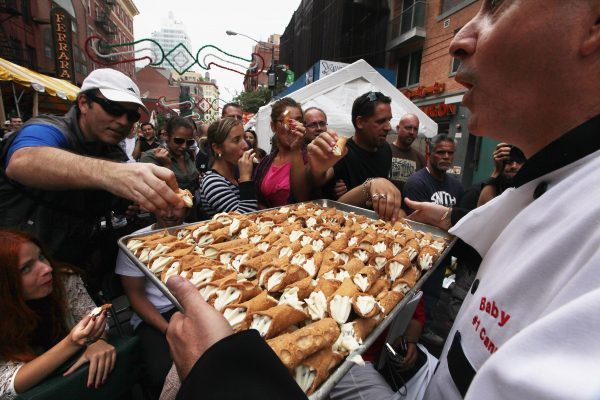 Connolis being served during the Feast of San Gennaro