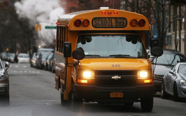 Bus driving on new york street