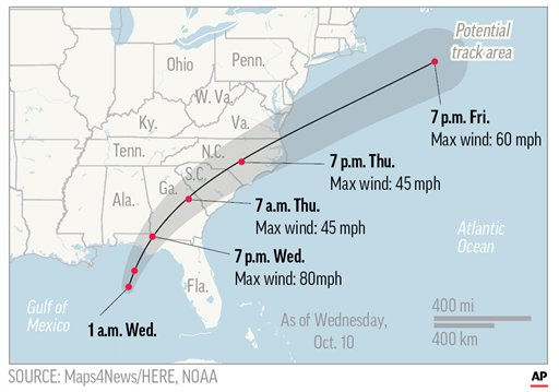 Map shows likely path of Hurricane Michael. (AP)
