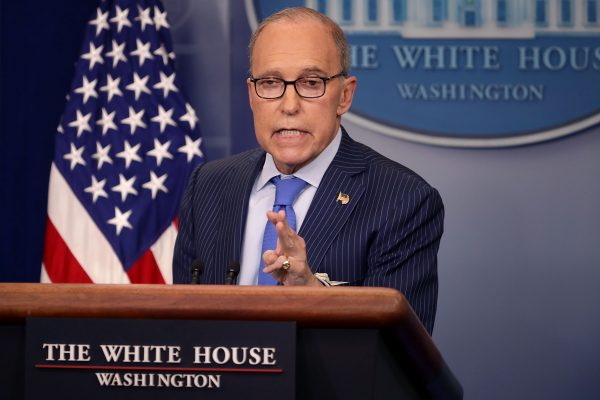 White House National Economic Council Director Larry Kudlow holds a news briefing.