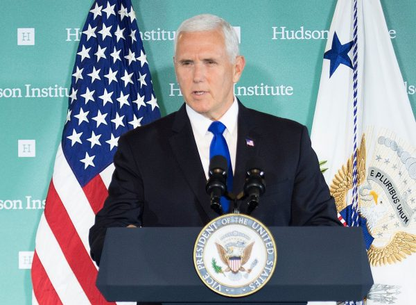 U.S. Vice President Mike Pence addresses the Hudson Institute.
