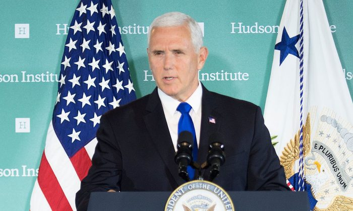 Vice President Mike Pence addresses the Hudson Institute on the Trump administration's policy toward China in Washington on Oct. 4, 2018. (JIM WATSON/AFP/Getty Images)