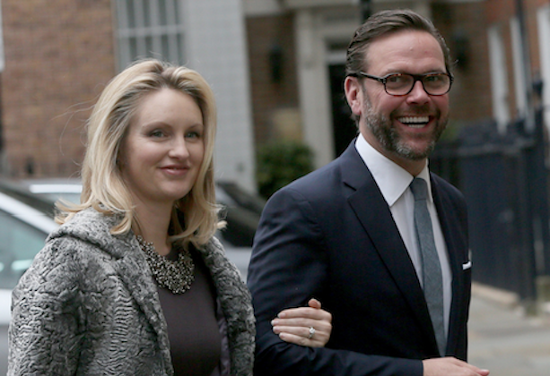 James Murdoch, the son of media mogul Rupert Murdoch, and his wife Kathryn Hufschmid arrive for a reception to celebrate the wedding between Rupert Murdoch and former supermodel Jerry Hall which took place in London, Britain, on March 5, 2016. (Reuters/Neil Hall)