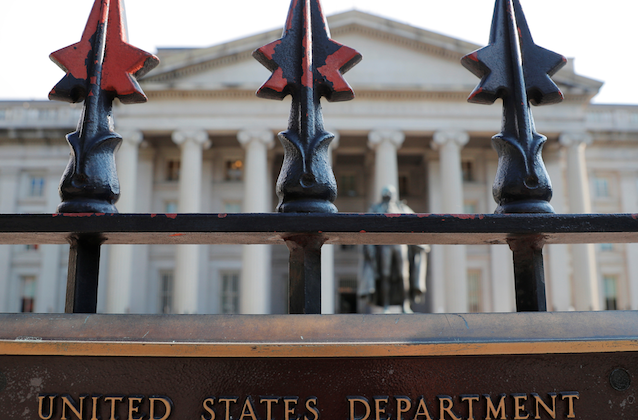 A sign marks the U.S Treasury Department in Washington, D.C., on Aug. 6, 2018. (Brian Snyder/Reuters)