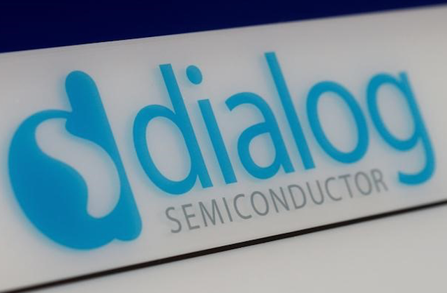 The Dialog Semiconductor logo is pictured at a company building in Germering near Munich on Aug. 15, 2016. (Reuters/Michaela Rehle)