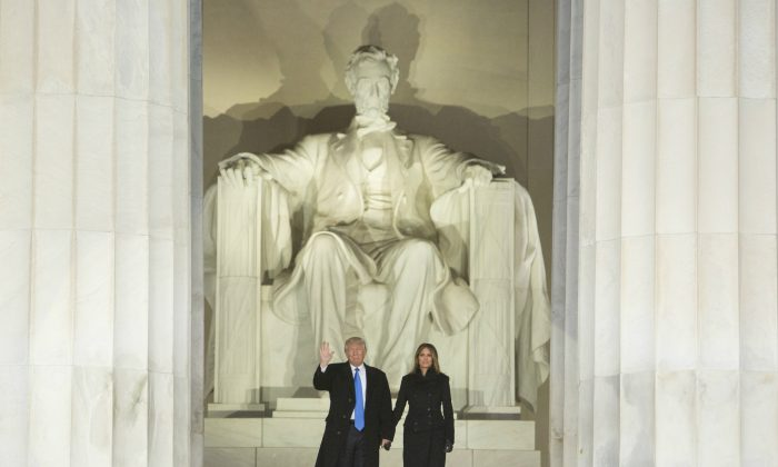 President Donald J. Trump and First Lady Melania Trump at the Lincoln Memorial on Jan. 19, 2017, in Washington, DC. Just as Trump has faced sharp words from his critics, so too did Lincoln in his time. (Chris Kleponis-Pool/Getty Images)