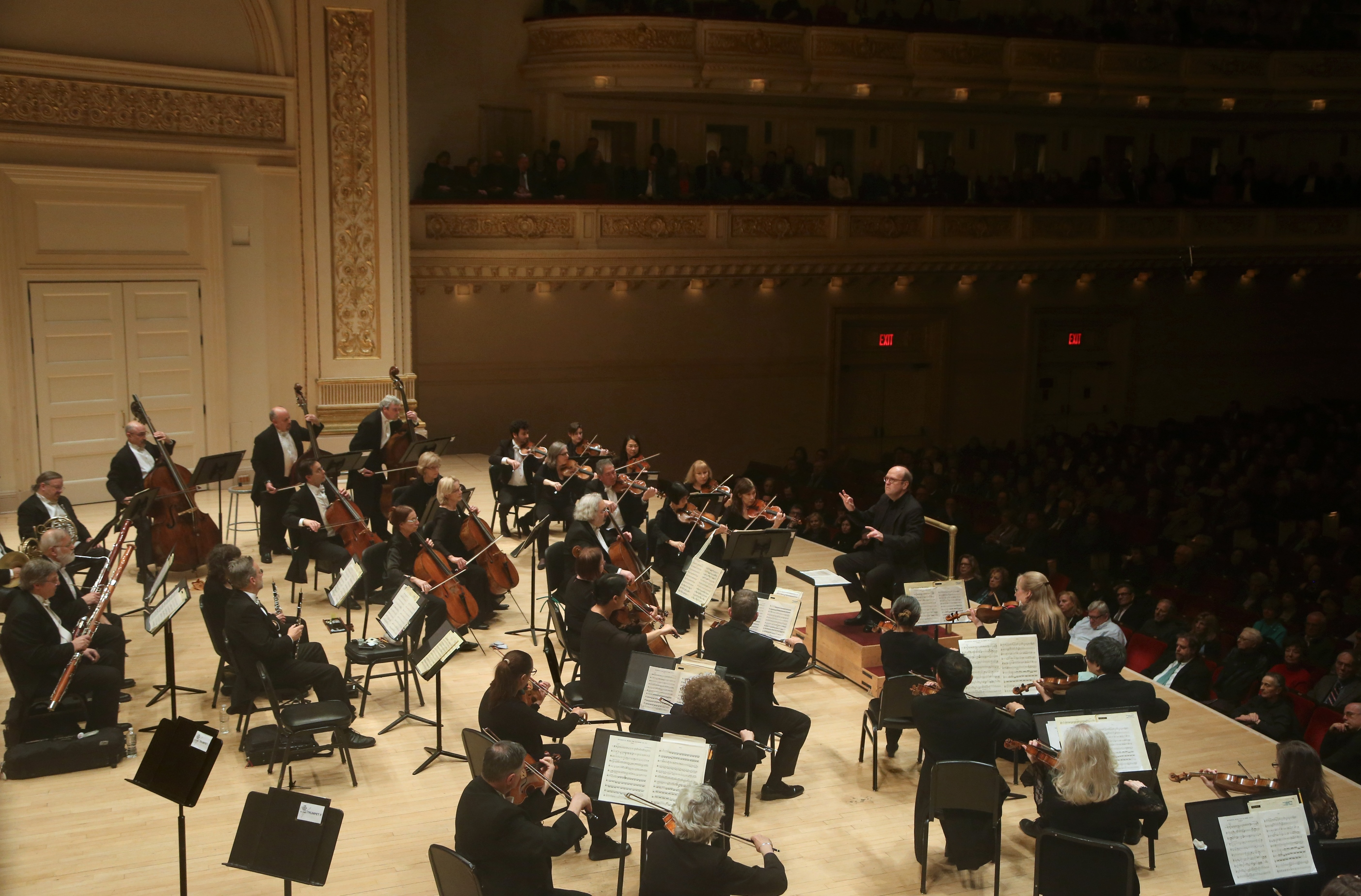"Mozart's symphony No. 41 in C, also known at the ""Jupiter"" symphony, is likely the last in a series of three symphonies of a triptych. Orchestra of St. Luke's performing Mozart's ""Jupiter"" at Carnegie Hall on Feb. 7, 2018. (Steve J. Sherman)"