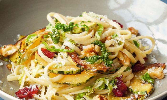 Pasta With Cabbage, Winter Squash, and Walnuts. (Ellen Silverstein)