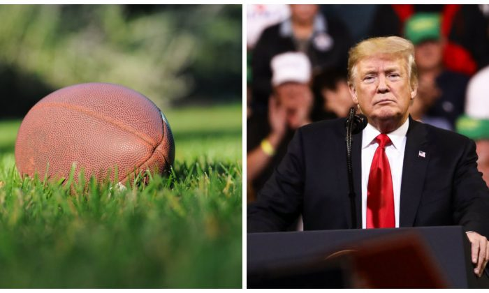 At a football game in North Carolina, an 18-year-old student was furious after the principal told him to remove a jersey that had on it 'Trump' and '45'. (L: Ben Hershey/Unsplash. R: Charlotte Cuthbertson/The Epoch Times)