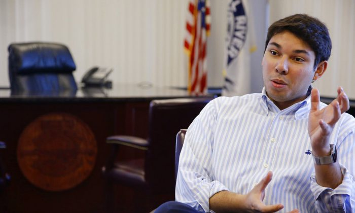 Newly elected Fall River Mayor Jasiel Correia talks in his city hall office in Fall River, Mass., on Jan. 6, 2016.  (AP Photo/Stephan Savoia, File)