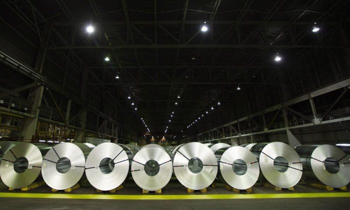 Rolls of coiled coated steel are shown at Stelco in Hamilton on June 29, 2018. (The Canadian Press/Peter Power)