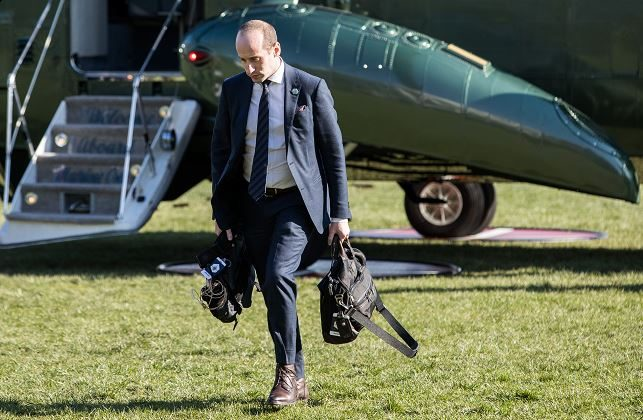 Senior adviser to the president, Stephen Miller returns to the White House, on April 5, 2018, after an event in West Virginia. (Samira Bouaou/The Epoch Times)